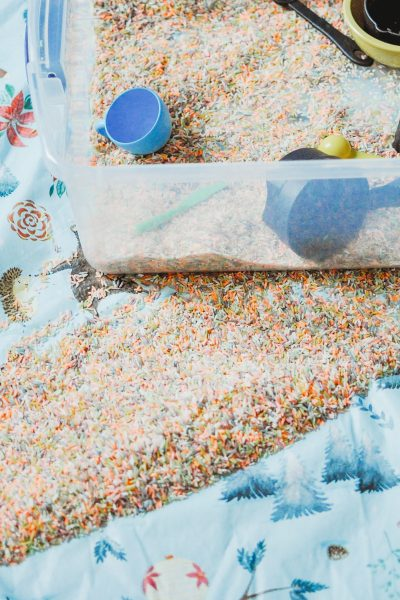 How to contain sensory bin messes