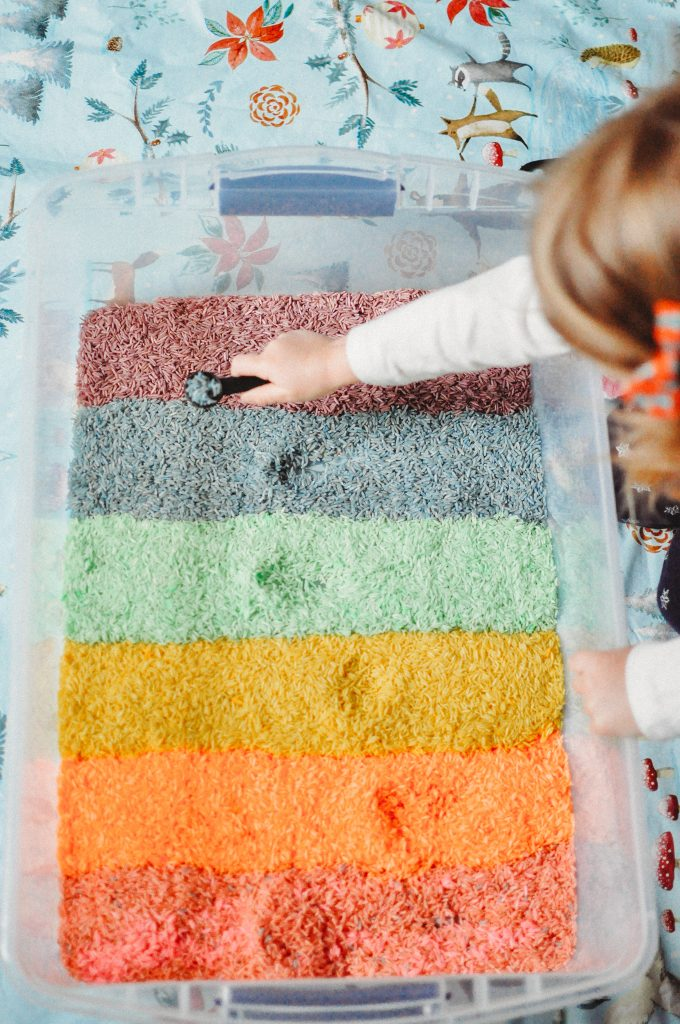 DIY Rainbow Rice for Sensory Play